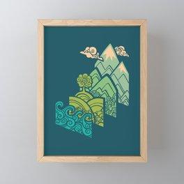 How to Build a Landscape : Blue Framed Mini Art Print