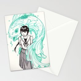 Elemental Schoolgirls  -  Aqua Stationery Cards