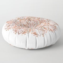 Mandala Rose Gold Flower Floor Pillow