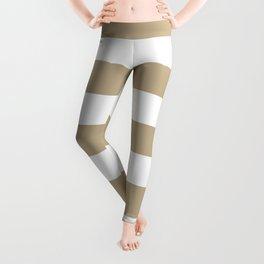 Khaki (HTML/CSS) (Khaki) - solid color - white stripes pattern Leggings