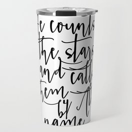 BIble Cover Printable Quotes Psalm 147:4 Nursery Bible Verse He counts the stars Scripture Print Travel Mug