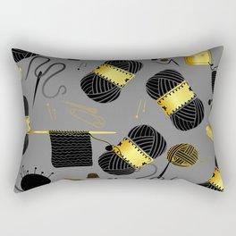 Gold and Black yarn Rectangular Pillow
