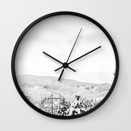 Deep Powder Trees // Black and White Landscape in the Rockies Wall Clock