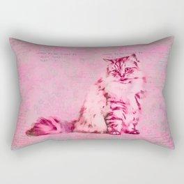 Cute Cat Pink Mixed Media Art Rectangular Pillow