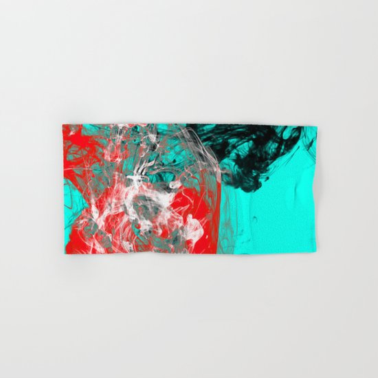 Marbled Collision - Abstract, red, blue, black and white mixed paint artwork Hand & Bath Towel