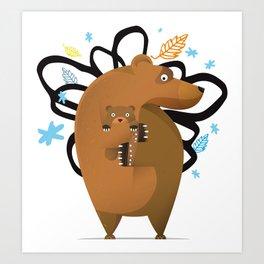 small and big bear Art Print