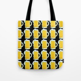 Beer Mugs on Black Background Tote Bag
