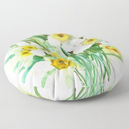 White Daffodils, spring flowers yellow green spring floral design Floor Pillow