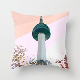 Geometric N Seoul Tower, South Korea Throw Pillow