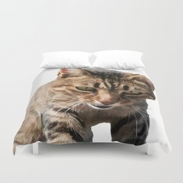 Tabby Looking Down Background Removed Duvet Cover