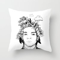basquiat Throw Pillows featuring Basquiat by offthefaceoftheearth