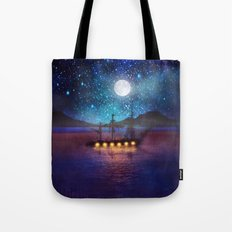 The lights and the Silent Water Tote Bag