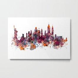 New York Skyline Silhouette Metal Print