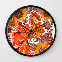 Rooster in Sunflowers - Ukrainian Folk Art Traditional Painting Wall Clock
