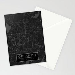 Orlando Map - Black and White (Dark) Stationery Cards