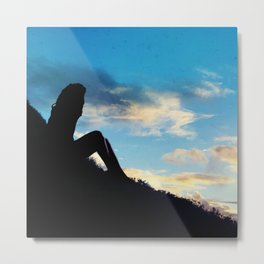Evening Sunset Landscape - Mountain Girl Metal Print