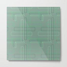 Tech Plaid Geometric Green Rectangle Pattern Metal Print