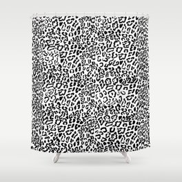 Modern Hipster Girly Black Leopard Animal Print Shower Curtain