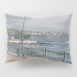 Red Rock Beach Winter Ocean Pillow Sham