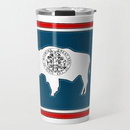 Wyoming Map with State Flag Travel Mug