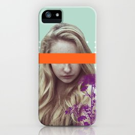 Graphic and contemporary blindfolded girl - photo by Ierdnall (CC by-SA 2.0) and Vecteezy.com iPhone Case