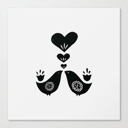 Scandinavian Love Birds Canvas Print