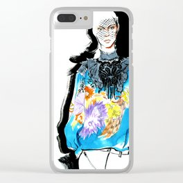 fashion #52: Girl in a blue blouse with flower print Clear iPhone Case