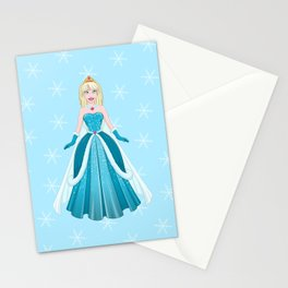 Snow Princess In Blue Dress Front Stationery Cards