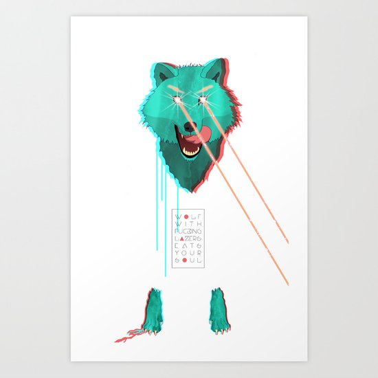 Wolf With F**king lasers Art Print
