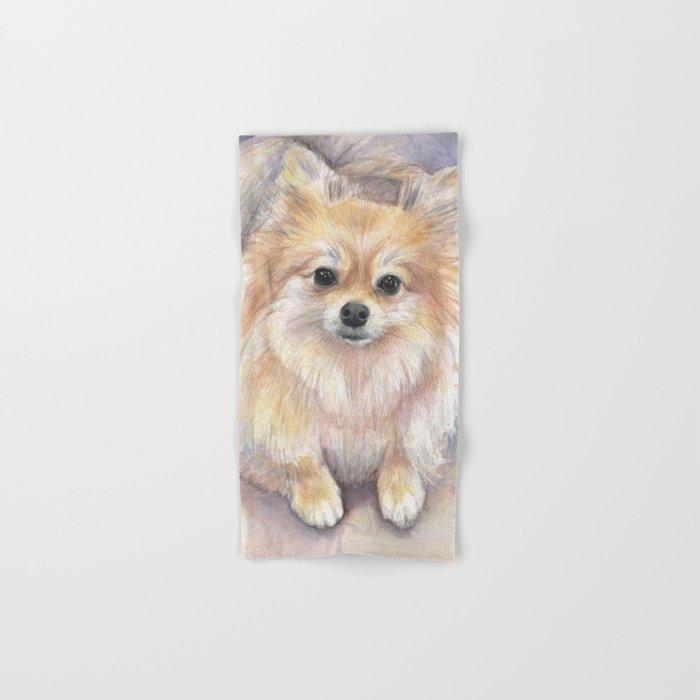 Pomeranian Watercolor Pom Puppy Dog Painting Hand & Bath Towel