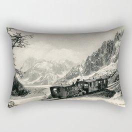 Antique train rack railway near Mont Blanc French Alps Rectangular Pillow