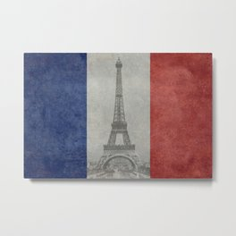 Flag of France with Eiffel Tower Metal Print