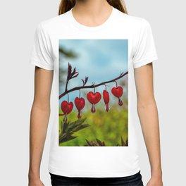 Red Bleeding Heart by Teresa Thompson T-shirt