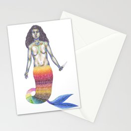 Mermaid with a knife Stationery Cards