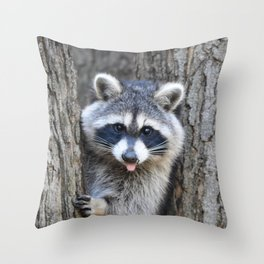 Raccoon Playing chase Throw Pillow