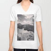 switzerland V-neck T-shirts featuring Switzerland BW by Heather Hartley