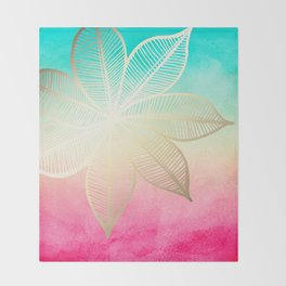 Gold Flower on Turquoise & Pink Watercolor Throw Blanket