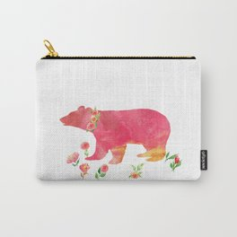 Bear with flowers - Animals Watercolor illustration Carry-All Pouch