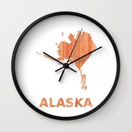 Alaska map outline Orange Brown Striped watercolor Wall Clock