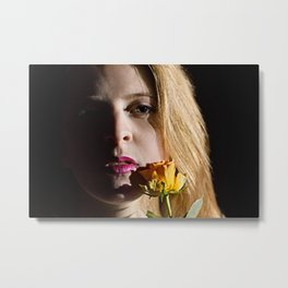 Confident Woman With Yellow Rose Metal Print