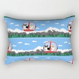 Gondola corgis telluride ski slopes custom dog Rectangular Pillow