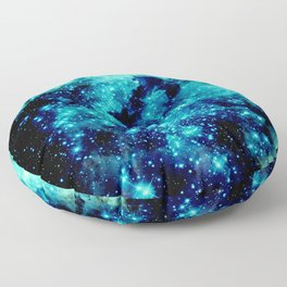 GALAXY. Teal Aqua Stars Floor Pillow