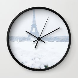 Eiffel Tower in Paris in the Snow Wall Clock