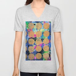 Bubble Wrap Abstract Pop Painting by Robert Erod HUGE COLORFUL ART Unisex V-Neck