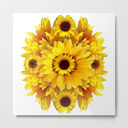 YELLOW SUNFLOWER  CLUSTER WHITE GARDEN ART Metal Print