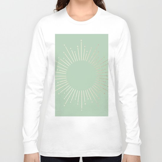 Simply Sunburst in Pastel Cactus Green Long Sleeve T-shirt