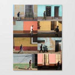 Cuba Men Walking  - Vertical Canvas Print