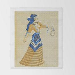 Minoan Woman Throw Blanket