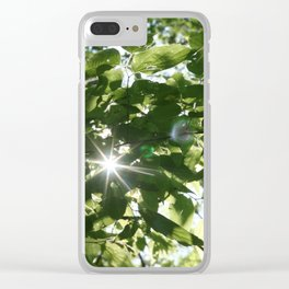 sunflare through the leaves Clear iPhone Case