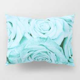 Turquoise roses - flower pattern - Vintage rose Pillow Sham